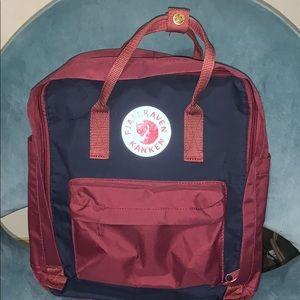 Fjallraven Kanken Dark Red & Navy Blue Backpack